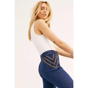 Free People Over The Rainbow Flare Jeans Embroidered Denim New Without Tags 29